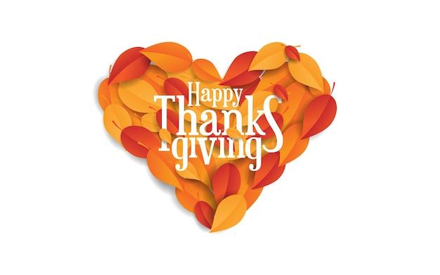 Feliz graças dando fundo isolado com folhas de outono com forma de amor
