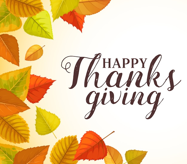 Feliz graças dando saudação com moldura de outono folhas caídas olmo, álamo e vidoeiro. parabéns pelo feriado de outono do dia de ação de graças, pôster da temporada outonal com folhagem de plantas brilhantes