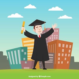 Feliz, graduado, menino, fundo