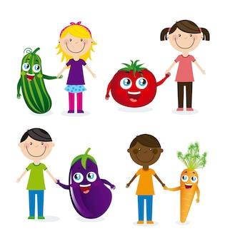 Feliz grupo crianças e legumes vector illustration