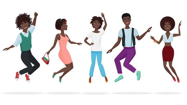 Feliz grupo de amigos de trabalho em equipe americano africano pulando.