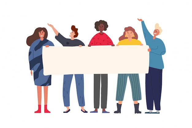 Feliz grupo de amigos juntos e segurando a bandeira em branco. ilustração colorida dos desenhos animados plana.