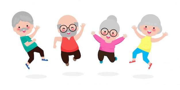 Feliz grupo de idosos pulando juntos, velho casal sênior pulando cartoon velho e velha dançando com alegria, plana isolada na ilustração de fundo branco.