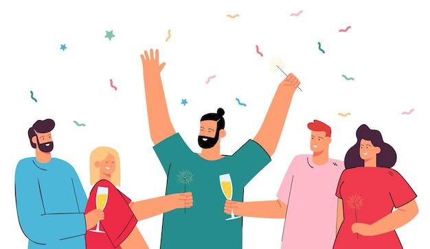 Feliz grupo de pessoas comemorando juntos