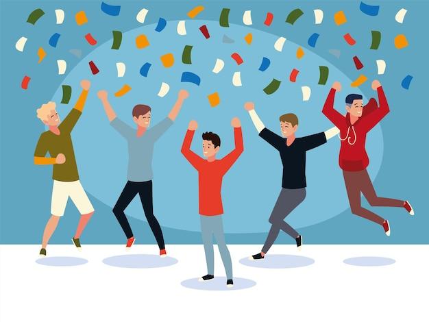 Feliz grupo de pessoas pulando comemorando confetes festivos