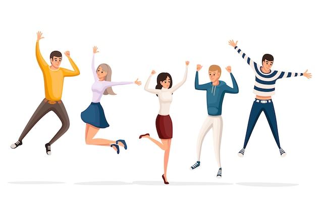 Feliz grupo de pessoas pulando. personagem de desenho animado . conceito de amizade. ilustração em fundo branco