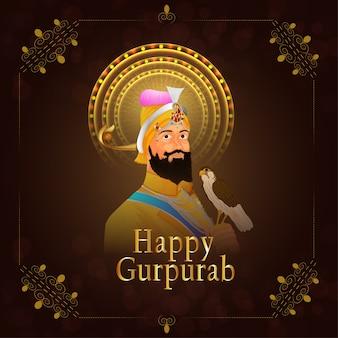 Feliz guru gobind singh jayanti celebração com sikh festiva l