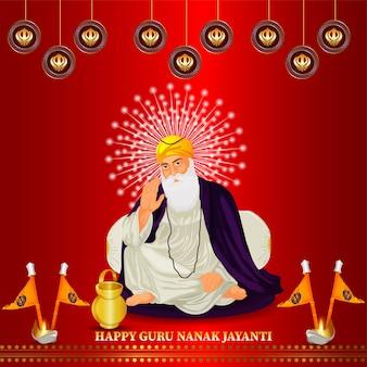 Feliz guru nanak jayanti com ilustração de guru nanak