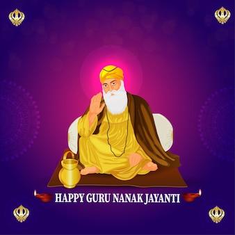 Feliz guru nanak jayanti, primeiro guru sikh, celebração de aniversário do guru nanak dev ji
