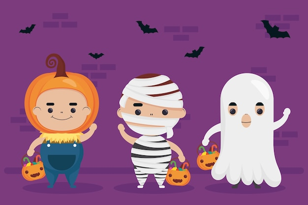 Feliz halloween, abóbora e fantasma com personagens múmias