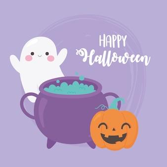Feliz halloween abóbora fantasma e caldeirão com ilustração de poção mágica