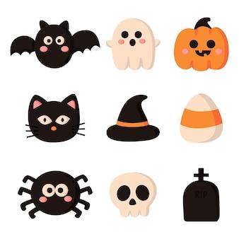 Feliz halloween cartoon conjunto de elementos simples isolado no fundo branco