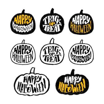 Feliz halloween crachás ou design de etiquetas