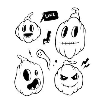 Feliz halloween doodle conjunto