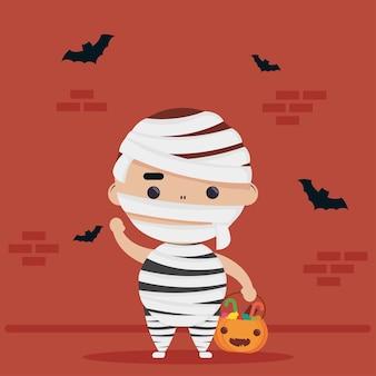 Feliz halloween fofinho personagem múmia e morcegos voando Vetor Premium