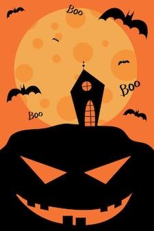Feliz halloween ilustração casa em um fundo da lua