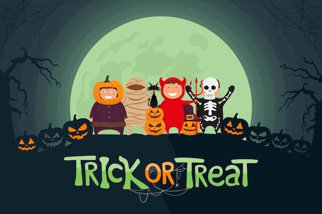 Feliz halloween ilustração vetorial crianças vestidas com fantasia de halloween, prontas para travessuras ou travessuras