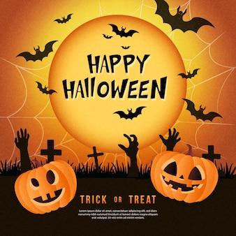 Feliz halloween jack lanterna lua cheia morcego teia de aranha e cemitério