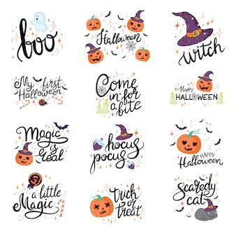 Feliz halloween mão ilustrações desenhadas e elementos. Vetor Premium