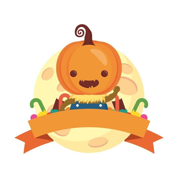 Feliz halloween menino bonito disfarce de abóbora com moldura de fita.