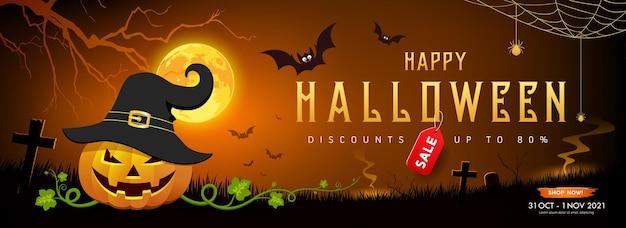 Feliz halloween venda de abóbora sorriso e morcego com desenho de bandeira de árvore em fundo laranja de lua