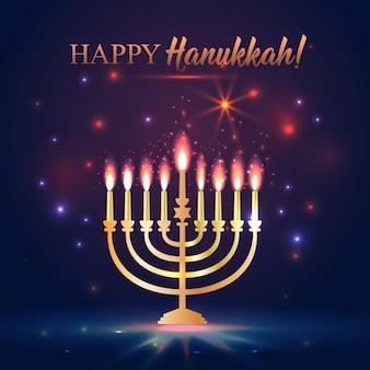 Feliz hanukkah brilhando fundo com menorah, david estrela e efeito bokeh.