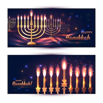 Feliz hanukkah brilhando fundo com menorah, david estrelas e efeito bokeh.