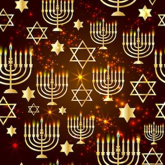 Feliz hanukkah brilhando fundo