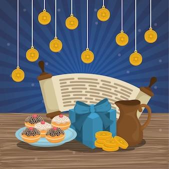 Feliz hanukkah celebração ícones