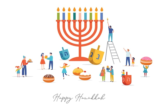 Feliz hanukkah, cena do festival de luzes judaico com pessoas, famílias felizes com crianças.