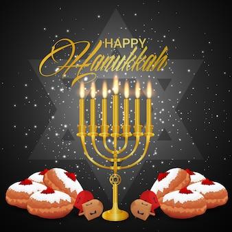 Feliz hanukkah com pão doce e vela de ouro