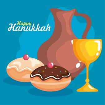Feliz hanukkah xícara de jarro de óleo e design sufganiot, festa de celebração do feriado do judaísmo