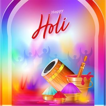 Feliz holi celebração fundo gradiente com brilhante dhol, pistola de água, tigelas e balde cheio de cores.