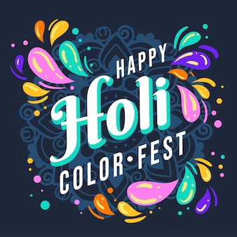 Feliz holi design plano festival de cores