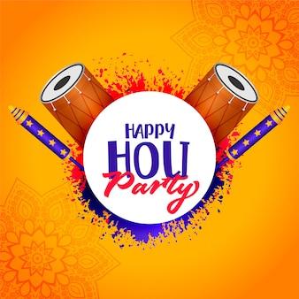 Feliz holi festa fundo com pichkari e dhol