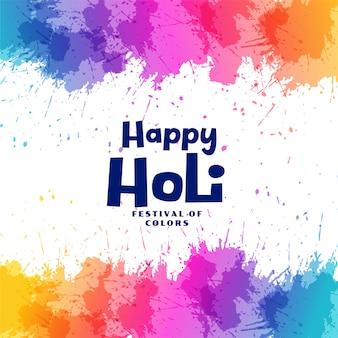Feliz holi festival salpicos coloridos de fundo