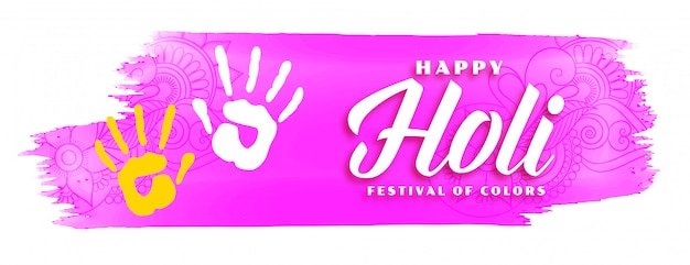 Feliz holi rosa aquarela fundo abstrato