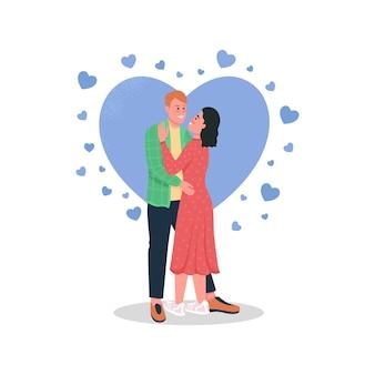 Feliz homem e mulher em personagens detalhados de cor de amor. casal sorridente se abraçando.