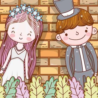 Feliz, homem mulher, com, plantas, folhas
