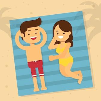 Feliz, homem mulher, em, a, praia, em, feriado verão, mulher homem, mentindo baixo, sunbathe, praia