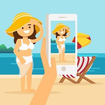 Feliz, homem mulher, em, a, praia, em, verão, esperto, telefone, mãos, segure, fazer, e, tomar, foto, ou, quadro, de, praia