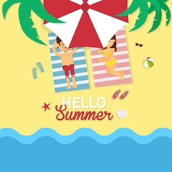 Feliz, homem mulher, em, a, praia par, homem mulher, relaxante, e, sunbathing, praia
