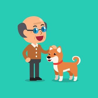 Feliz, homem sênior, com, cute, shiba, inu, cão