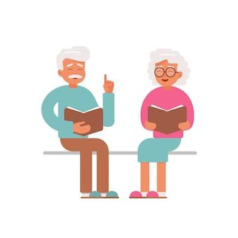 Feliz, homem sênior, e, leitura mulher, livros