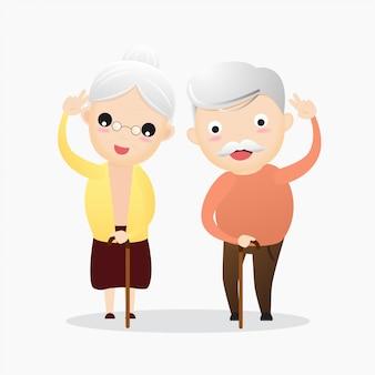 Feliz, homem velho, e, mulher velha, conceito