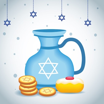 Feliz ilustração de hanukkah com bule e comida doce