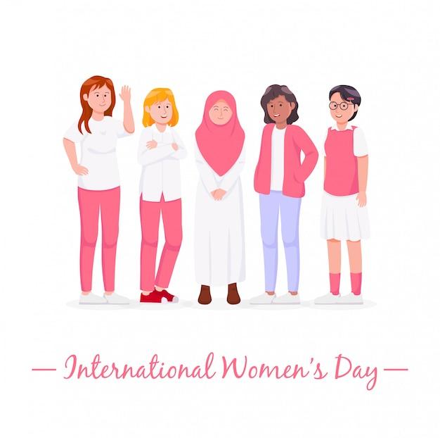 Feliz, internacional, womens, dia, ilustração, caricatura