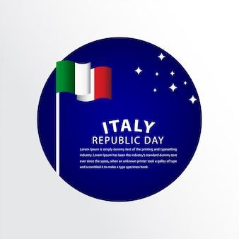 Feliz itália república dia celebração modelo design ilustração