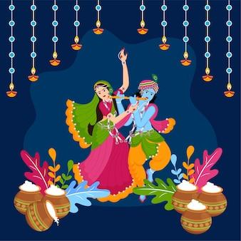 Feliz janamashtami indiano festival celebração design premium vector