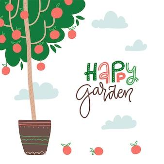 Feliz jardim letras cartão de texto mão com letras citação de jardinagem com maçãs no vaso de árvore vecto ...